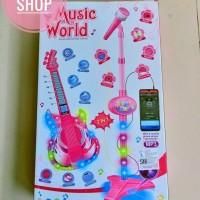 Mainan anak gitar dan microphone 2in1 music world singer star guitar