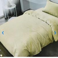 Bed Cover 150 x 210 cm & sprei set ukuran Single Emboss Krem Tofu