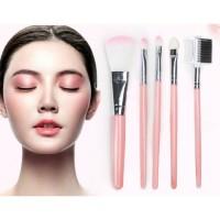 Kuas Pink set 5in1 make up brush kuas make up brush 5 in 1
