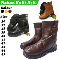 Sepatu Safety Boot Kulit Asli Sefty Septi Ujung Besi Septy Lapangan - Cokelat, 36