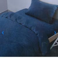Bed Cover 150 x 210 cm & sprei set ukuran Single Emboss warna biru