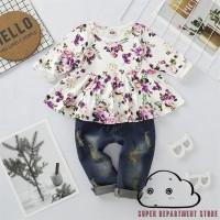 Anak Perempuan Setelan Kaos / T-Shirt Lengan Panjang + Celana Jeans