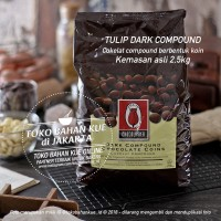 Tulip Dark Compound Coin Chocolate 2,5kg Cokelat Coklat Baking Coin