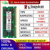 RAM KINGSTON DDR3 8GB 1600MHZ 12800 ORI RAM LAPTOP DDR3 RAM NB DDR3