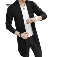 Cardigan Rajut Slim Fit Lengan Panjang Warna Polos untuk Pria