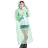 10Pcs Jas Hujan Hoodie Transparan Sekali Pakai dengan Tali Serut