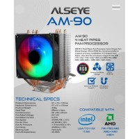 Alseye AM-90 4Pipe Fan Processor/CPU Cooler RGB