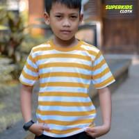 KAOS ANAK STRIPE SALUR KUNING PUTIH SUPERKIDS 1-8 TAHUN