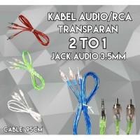 Kabel Aux Audio/RCA Transparan Jack 3.5mm 2 IN 1