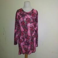 Kaos Blus Blouse Wanita Lengan Panjang Merah Stretch