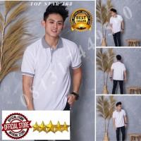 Kaos Polo Shirt Polos Putih kerah abu/kaos kerah pria/baju kaos kerah - Tulis no. warna, S