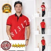 Kaos Polo Shirt Polos Merah kerah hitam/kaos kerah pria/baju kerah - Tulis no. warna, S