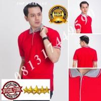 Kaos Polo Shirt Polos merah kerah abu/kaos kerah pria/baju kerah/polo