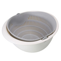 Asy Baskom Saringan 2 layer Double Drain Basket Bowl Kitchen Strainer