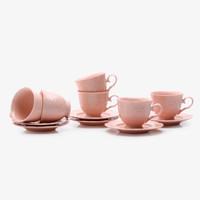 Cangkir Set / Tea Set 12 pcs Rose Flower Baby Pink