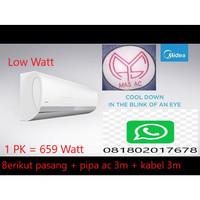 AC MIDEA 1PK 659W + pasang+pipa+kabel
