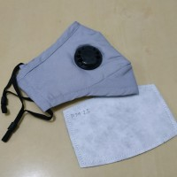 Masker PM 2.5 Single Valve 1 Katup Udara + 1 Pcs Filter PM 2.5 - Grey