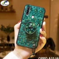 case glass glitter oppo a31 softcase bling marmer foil emas - Hijau