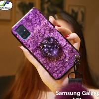 casing glitter samsung a71 softcase marmer bling foil emas - Ungu