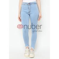 Celana Panjang Jeans Highwaist Wanita Tri Washed Blue Stretch -Gazania