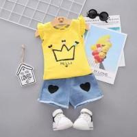 setelan baju bayi anak yellow princess clana denim imut