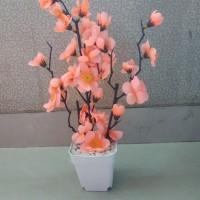 3pot Bunga sakura pot 8cm tanaman artificial (tangkai 3)