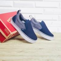 Sepatu Anak Vans Slip On Grey Navy Premium