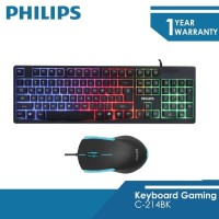 Philips Keyboard Mouse Gaming C214BK Combo [2 in 1] Bundle