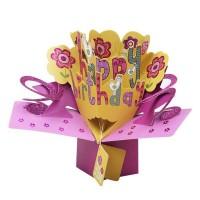 Kartu Ucapan Happy Birthday Dengan Bunga Pop Up 3d Handmade