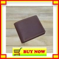KI235 dompet pria kulit sapi asli warna coklat bifold wallet basic