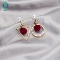 Ladies Asymmetric Geometry Pompom Ball Faux Pearl Earrings Red/Gray