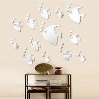 Stiker Dinding Model Cermin Gambar Kupu-Kupu/Ikan Bahan Akrilik DIY