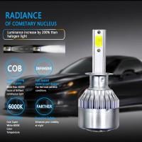 2Pcs Lampu LED C6 COB H1 6000k untuk Headlight / Fog Lamp Mobil