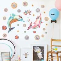 Stiker Dinding dengan Bahan Mudah Dilepas Gambar Ikan Ukuran 60x90cm