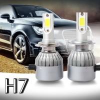 C6 Lampu Depan Mobil LED COB H7 36W 7600LM Warna Putih Emas