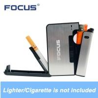 PROMO Focus Kotak Fashion Bungkus Metal Case with Lighter Korek Api