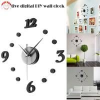 Jam Dinding Digital 3D DIY Desain Modern Ukuran Besar