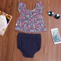 Baju Renang Bayi: Set Bikini Off Shoulder Sabrina Kerut Motif