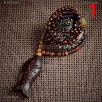 Hbid Kalung Rantai Liontin Manik-Manik Batu Kayu Retro untuk Wanita
