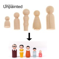 (PROMO) 5Pcs/Set Unpainted Blank Wooden Family Peg Doll Toy DIY