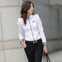 Lethe Kemeja Lengan Panjang Warna Putih untuk Wanita