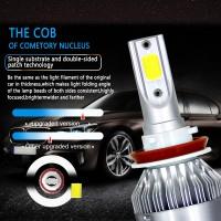 2Pcs Bola Lampu COB LED C6 H11 6000K 8000LM Untuk Depan Mobil