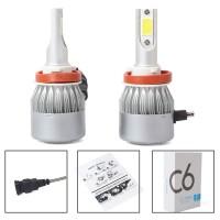 2Pcs Lampu Depan Mobil C6 LED COB H11 36W 7600LM Warna Putih