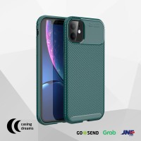 CASE IPHONE 11 / 11 PRO / 11 PRO MAX SHOCKPROOF CARBON CASING - GREEN - iPhone 11, Hijau
