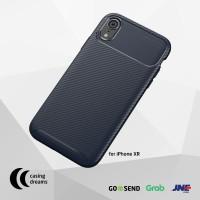 CASE IPHONE XR PREMIUM SHOCKPROOF CARBON FIBER CASING - BLUE - iPhone XR, Biru