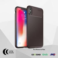 CASE IPHONE XS MAX PREMIUM SHOCKPROOF CARBON FIBER CASING - BROWN - iPhone XS Max, Cokelat