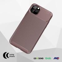 CASE IPHONE 11 PRO MAX / 11 / 11 PRO SHOCKPROOF CARBON CASING - BROWN - iP 11 Pro Max, Cokelat