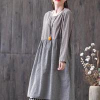 Dress Tunik Babydoll Lengan Panjang Katun Brokat Linen Kotak Korea Imp