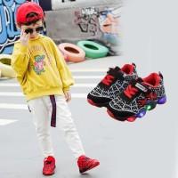 Sepatu Sneakers Anak Laki-laki dan Perempuan Lampu Spiderman Mesh