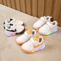 Sepatu Sneakers Anak Laki-laki Swoosh 019 Sepatu LED Leather Keren - Orange, 21